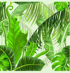 botanical seamless pattern with tropical trees vector image
