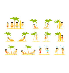 cartoon beach holidays people big set womans and vector image