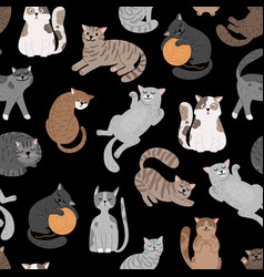cats seamless pattern shorthaired cat set pattern vector image