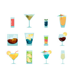 cocktails flat icon alcoholic summer party drinks vector image