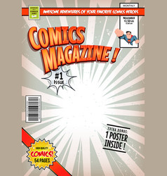 comic book cover template vector image