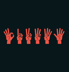 Count on fingers gesture stylized hands showing vector