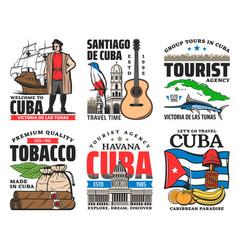 Cuba travel icons with cuban flag map landmarks vector