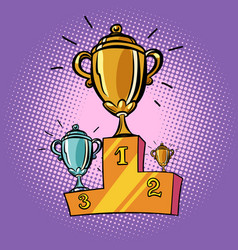 cups winner first second third place pedestal vector image