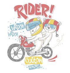 cute bear and his brother on motorcycle t-shirt vector image