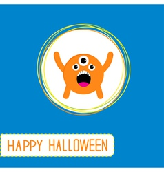 Cute cartoon orange monster Orange background vector