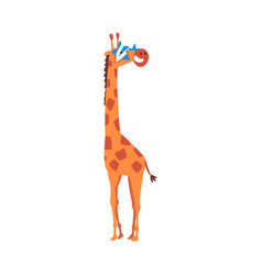 cute giraffe wearing star shaped sunglasses funny vector image