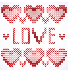 Decorative card with cross-stitched hearts vector image