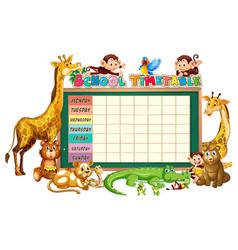 Diverse group animals around school timetable vector