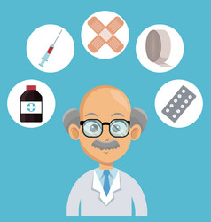 doctor cartoon with medical symbols vector image