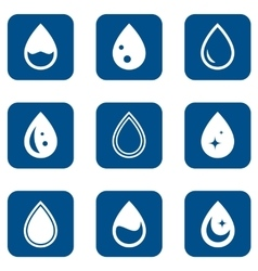 Droplet icons set vector