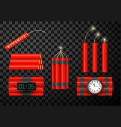 dynamite bomb red icons set vector image