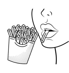 face profile eating french fries black and white vector image