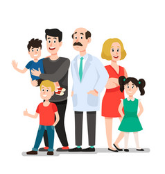 family doctor smiling happy patients family vector image