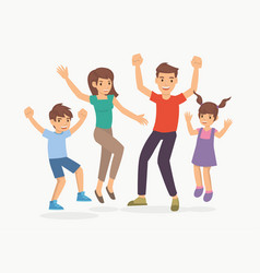 Family with children in happy jump pose vector
