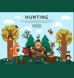 flat hunting concept vector image