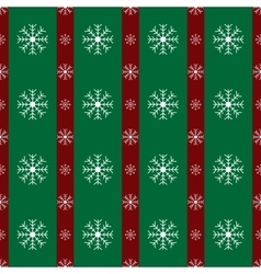 Floral snowflakes green red stripes Christmas vector image