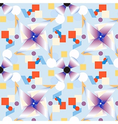 geometric figures pattern on blue vector image