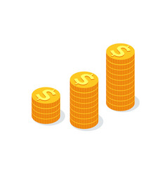 golden coin stacks dollar sign isolated fundings vector image