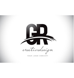 Gr g r letter logo design with swoosh and black vector