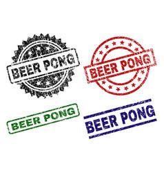Grunge textured beer pong stamp seals vector