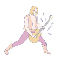 Guitarist playing electric guitar rock musician vector