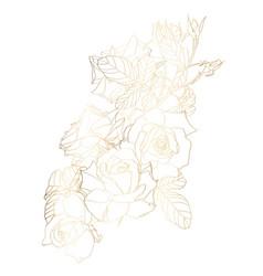 hand drawn summer vintage rose gold bouquet vector image