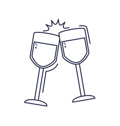 happy birthday toast champagne cups celebration vector image