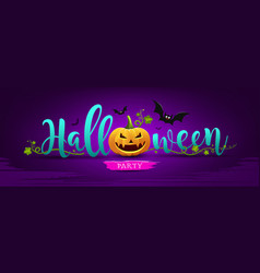 happy halloween party message pumpkin design vector image