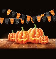 happy halloween poster jack lanterns gourd vector image