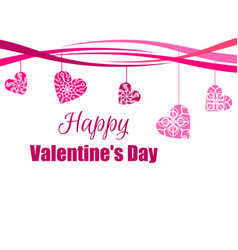 happy valentines day hanging hearts with a vector image