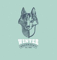 Husky or wolf head emblem in classic elegance vector