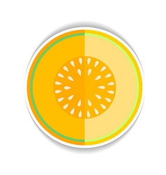 icon Ripe yellow melon and a piece vector image