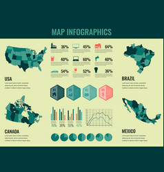 infographics elements set with collection maps of vector image
