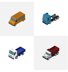 Isometric transport set of truck lorry autobus vector
