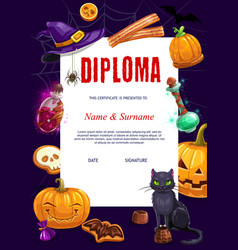 Kids diploma with halloween characters vector