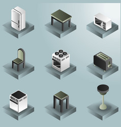 Kitchen color gradient isometric icons set vector