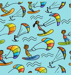 Kiteboarding seamless pattern for your design vector