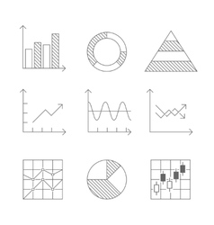 lines icons set graph and chart vector image