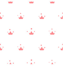 little cute pink crowns seamless pattern vector image
