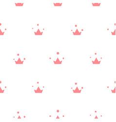 Little cute pink crowns seamless pattern vector