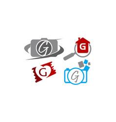 Logotype g modern template set vector