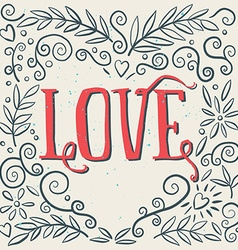 love ink drawing flowers card poster print vector image