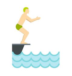 man standing on springboard preparing to dive icon vector image