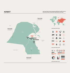 Map kuwait high detailed country vector