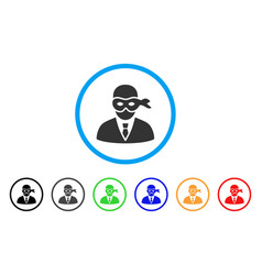 Masked thief rounded icon vector