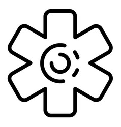 medical cross icon outline style vector image