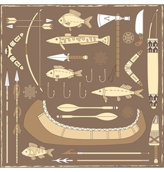 Native American fishing design elements vector image