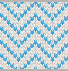 nordic knitted texture blue on white seamless vector image