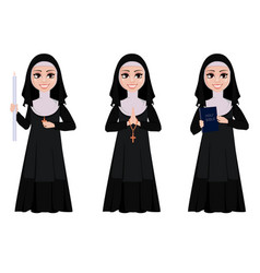 Nun cartoon character vector